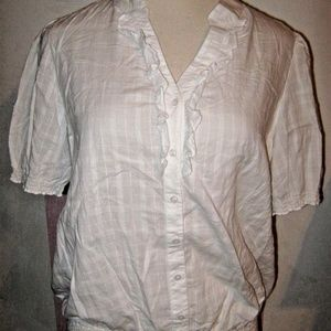 Bright White Ruffle Button Banded Waist Sheer Top